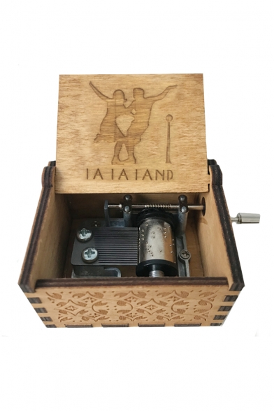 Retro Letter LALALAND Dancer Pattern Wooden Khaki Hand Music Box Ornament