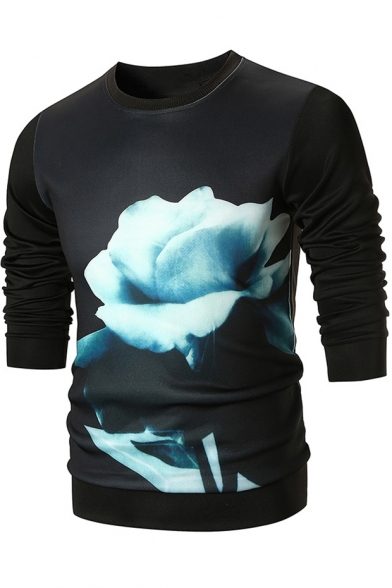 Stylish 3D Floral Printed Round Neck Long Sleeve Fitted Cotton Pullover Sweatshirt