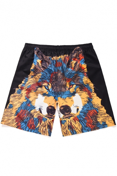 Summer Creative Wolf Head Printed Drawstring Waist Quick Dry Black Surf Swim Trunks with Pockets