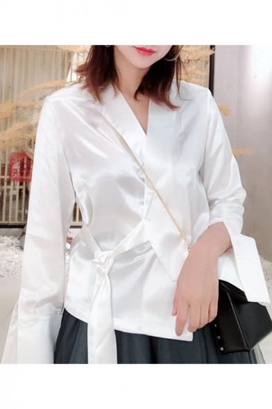 Unique Stylish Wrap Front Bow-Tied Side Simple Plain White Satin Deconstructed Blouse