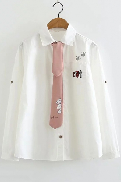 White Letter CAT Embroidered Long Sleeve Lapel Collar Button Down Necktie Shirt