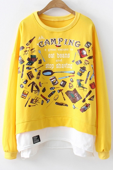 Basic Round Neck Long Sleeve Letter CAMPING Print Patched Hem Loose Fit Sweatshirt