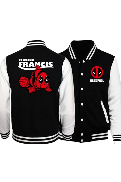 Classic Rib Knit Hem Stand Collar Long Sleeve Comic Letter DEADPOOL Print Button Front Black Baseball Jacket