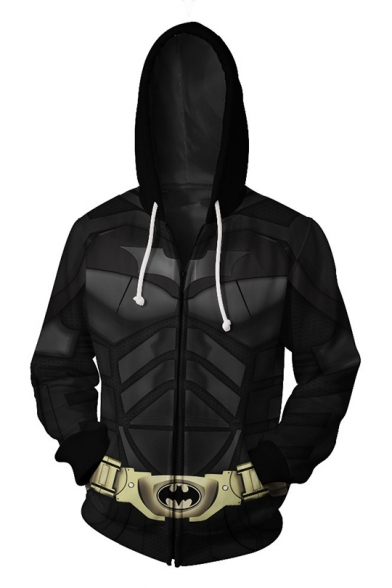 Cool 3D Cosplay Black Long Sleeve Zip Front Fitted Drawstring Hoodie