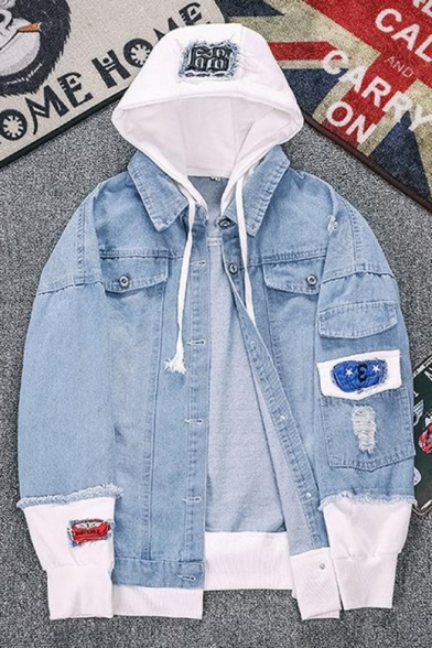Denim Blue Cool Comic Mouth Printed Patched Long Sleeve Fringe Hem Button Down Hooded Denim Coat