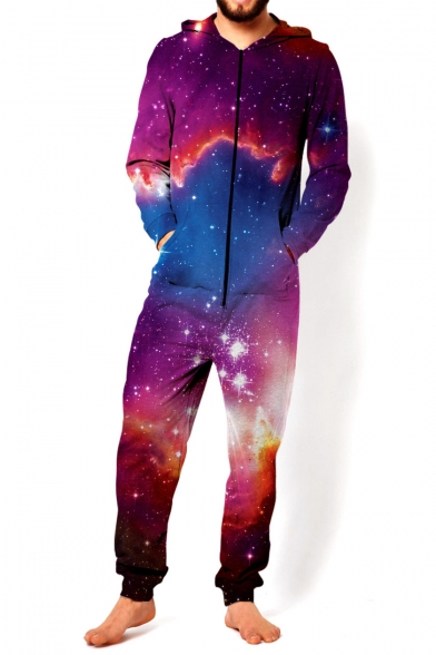 Fashion 3D Purple Galaxy Print Long Sleeve Hooded Zip Up Front Sport Loose Jumpsuit