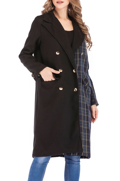 Купить со скидкой Fashion Trendy Plaid Patchwork Long Sleeve Notched Lapel Collar Double-Breasted Long Black Pea Coat