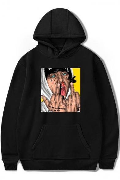Hip Hop Street Style Figure Printed Long Sleeve Casual Pullover Hoodie