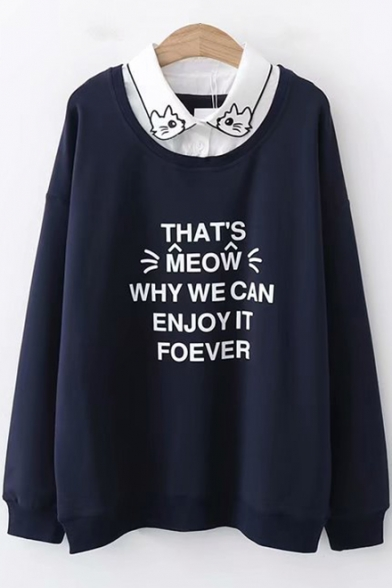 Lovely Cartoon Cat Embroidered Lapel Collar Patched Long Sleeve Letter Printed Pullover Sweatshirt