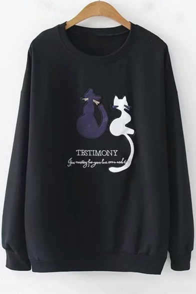 Lovely Cartoon Cat Letter TESTMONY Embroidered Crewneck Long Sleeve Pullover Sweatshirt LC501287 фото
