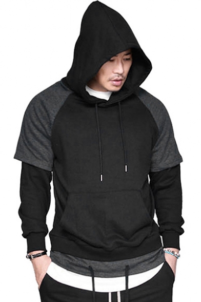 Men's Fashion Colorblock Patched Long Sleeve Raglan Sleeve Regular Fitted  Drawstring Hoodie - Beautifulhalo.com