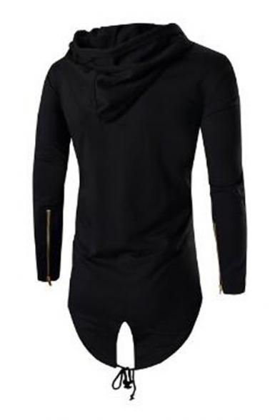 Men's Stylish Zip-Embellished Long Sleeve High Low Hem Open Front Drawstring Hoodie
