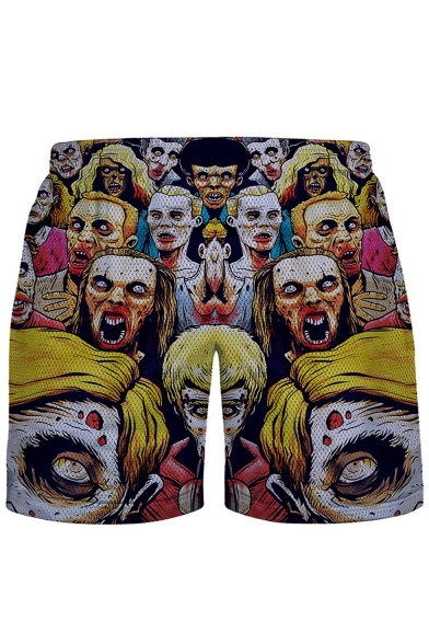 Men's Vented Mesh-Panelled 3D Stylish Zombie Printed Elastic Waist Summer Swim Shorts