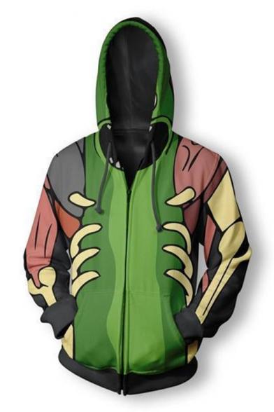 New Long Sleeve Green Zip Front Pattern Sports Hoodie