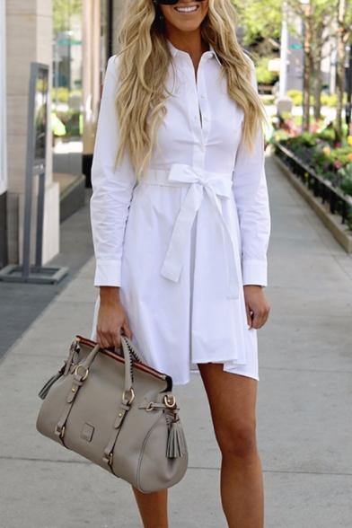 Office Lady Long Sleeve Lapel Collar Plain Bow Embellished Mini White Shirt Dress