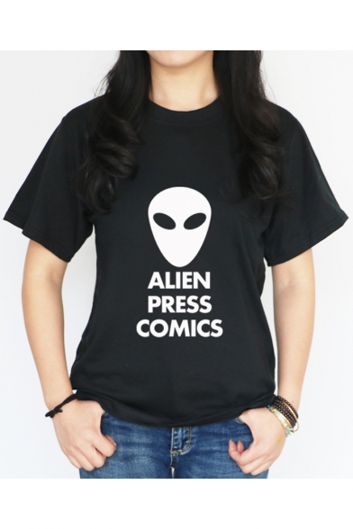Popular Letter ALIEN PRESS COMICS Alien Print Crewneck Short Sleeve T-Shirt