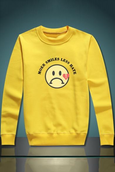 Simple Letter MORE SMILES LESS HATE Sad Face Print Long Sleeve Crewneck Oversized Sweatshirt