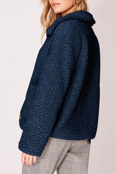 Single Breasted Lapel Collar Plain Fleece Warm Coat