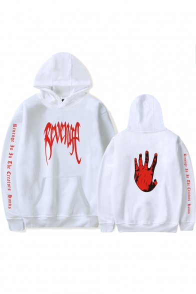 Street Style Letter REVENGE Palm Printed Long Sleeve Relaxed Pullover Hoodie