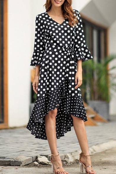 Stylish Polka Dot Printed V-Neck Flared Sleeve Bow-Tied Waist Midi Asymmetrical Dress