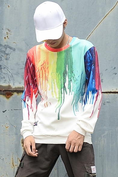 Cool 3D Rainbow Ink-Splash Print Loose Fit Long Sleeve White T-Shirt