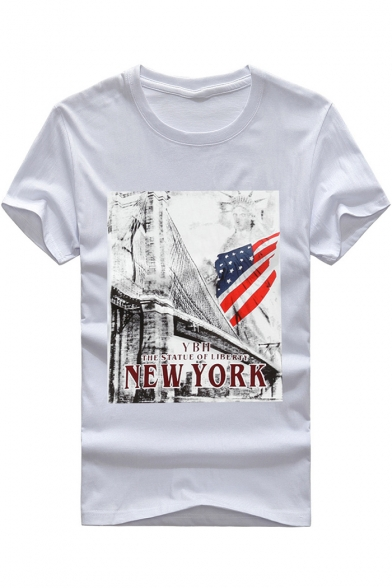 Cool Letter NEW YORK Flag Print Round Neck Short Sleeve Loose Graphic Tee