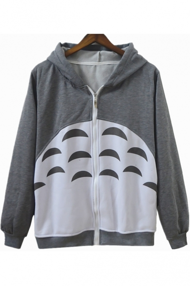 Cozy Long Sleeve Zip Front Cartoon Totoro Printed Unisex Gray Hoodie