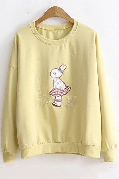 Funny Rabbit Long Sleeve Round Neck Cotton Casual Pullover Sweatshirt