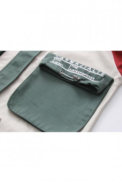 Girls Fashion Colorblock Letter Embroidered Flap Pocket Zip Up Hooded Windbreaker Coat