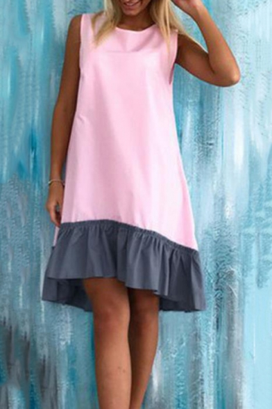 Girls Summer Fashion Ruffled Hem Round Neck Sleeveless Mini Swing Tank Dress
