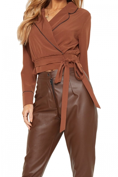 Ladies Chic Contrast Piping Notched Lapel Collar Bow-Tied Waist Cropped Brown Blouse