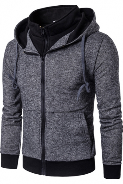 Men's Dark Grey Stylish Patched Stand Collar Contrast Trim Long Sleeve Regular Fitted Zip Hoodie