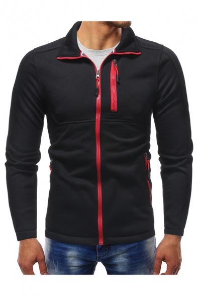 Men's Stylish Multi-Zip Embellished Long Sleeve Stand Collar Contrast Zip Up Sweatshirt