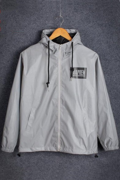 New Arrival Long Sleeve Unisex Zip Front Letter SUAPREM Printed Reflective Hooded Gray Coat