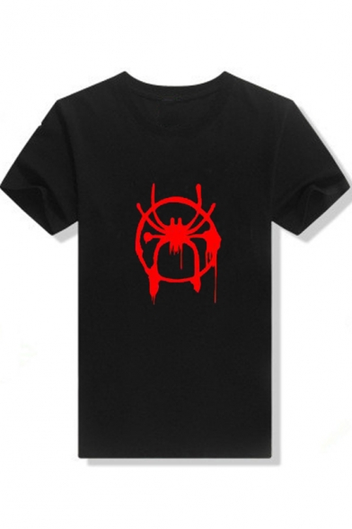 Popular Spider Man Print Basic Short Sleeve Regular Fit Cotton Unisex T Shirt by Beautiful Halo