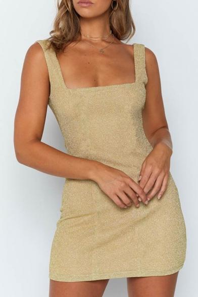 Women's Fashion Square Neck Open Back Sexy Silk Bodycon Mini Dress