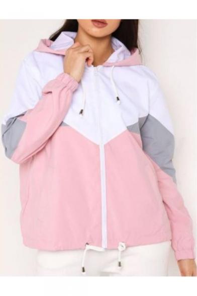 Women's Trendy Fashion Colorblock Drawstring Hem Long Sleeve Zip Up Hooded Track Coat