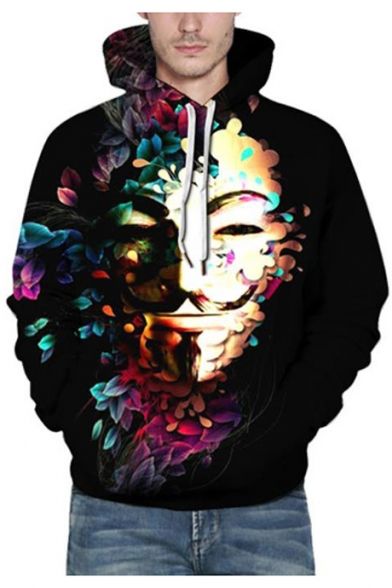 3D Cool Floral Character Printed Street Style Fashion Black Hoodie