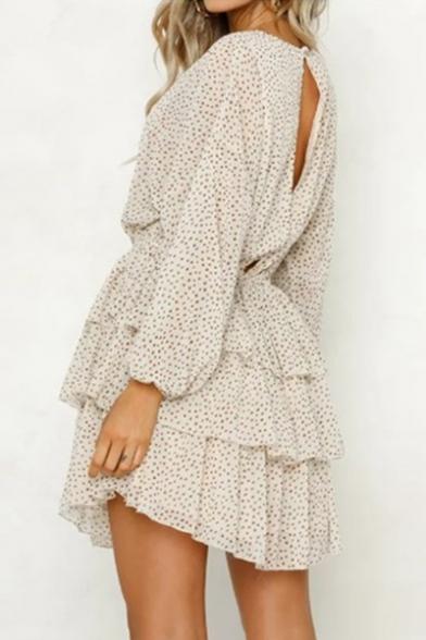 Beige Polka Dot Printed Bishop Long Sleeve Cut Out Back Layered Ruffle Hem Mini A-Line Dress