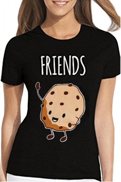 8708a8de65 ... Funny Cartoon Milk Cookie Letter BEST FRIENDS Printed Casual Short Sleeve  T-Shirt for Friends