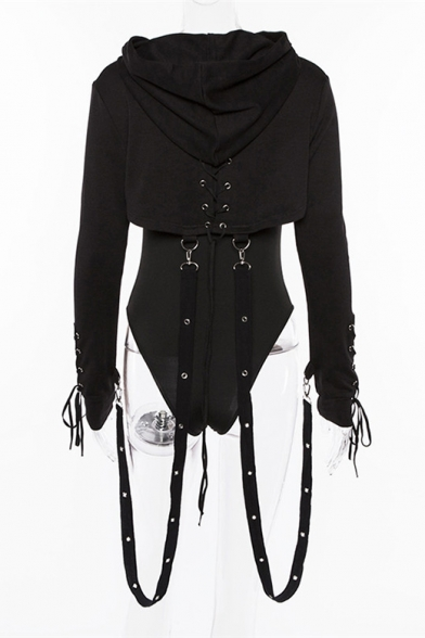 Gothic Punk Style Long Sleeve Chic Lace-Up Back Ribbon Design Cropped Plain Black Hoodie