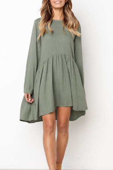 New Arrival Long Sleeve Round Neck Plain Linen Swing Dress