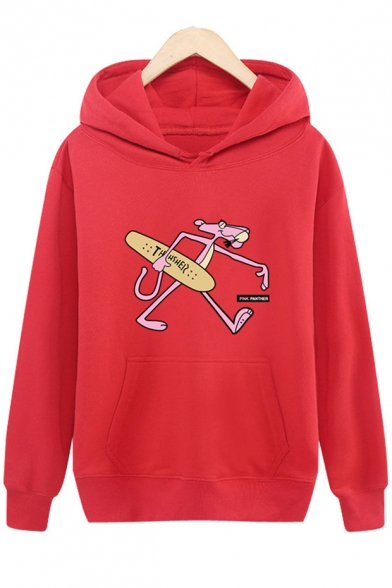 New Trendy Lovely Cartoon Skateboard Pink Panther Printed Regular Fitted Hoodie for Guys