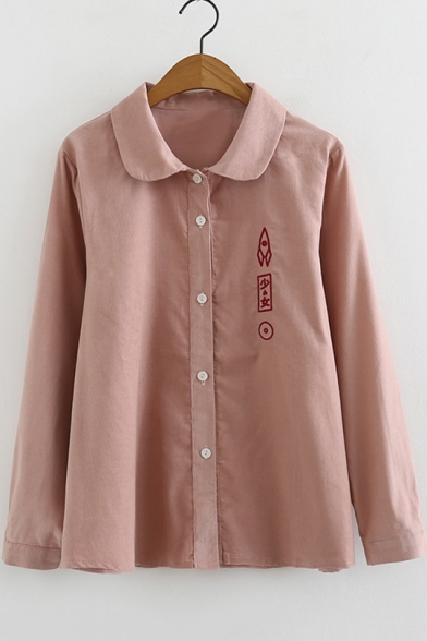 Simple Chinese Character Rocket Embroidered Long Sleeve Button Down Loose Shirt