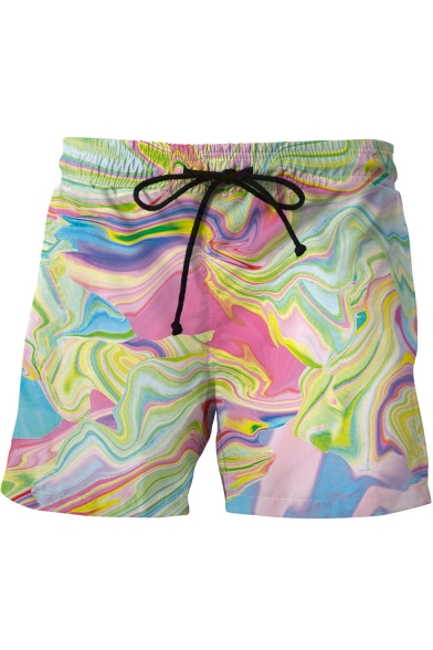 Stylish 3D Colorful Wave Painting Print Drawstring Waist Loose Casual Men's Beach Swim Trunks