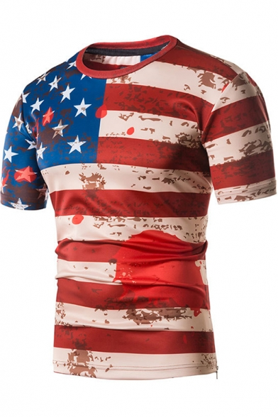 Stylish USA Flag Graffiti Pattern Summer Short Sleeve Fitted Red T-Shirt for Guys