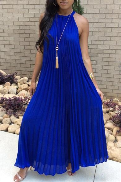 d994c0dd8ec70 Summer New Arrival Sleeveless Halter Plain Maxi Pleated Dress