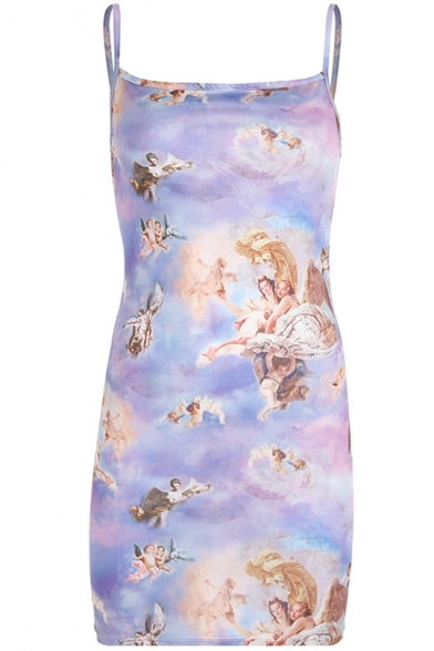 Hot Sale Spaghetti Straps Sleeveless Graffiti Pattern Bodycon Mini Dress