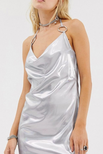 Hot Sleeveless Halter Hoop Detail Plain Open Back Silver Sheath Mini Dress