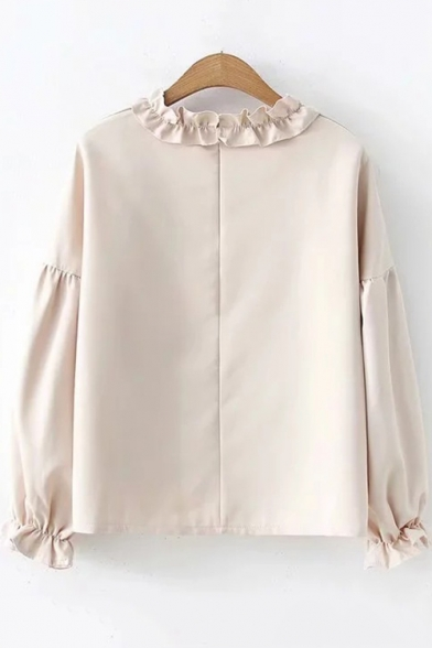 Khaki Long Sleeve Ruffle Round Neck Bow Embellished Button Down Leisure Shirt
